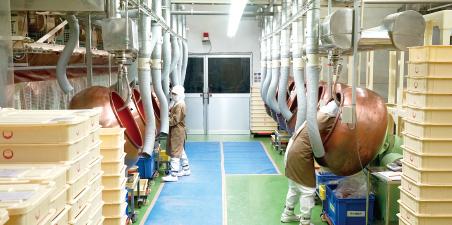 48台のレボルビング・パンが並ぶ壮観な工場